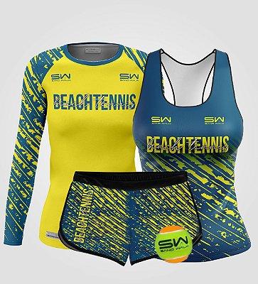 Kit Feminino | Beach Tennis | Manga Longa, regata, shorts e bola | Coleção Drop Shot