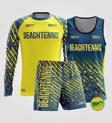 Kit Masculino | Beach Tennis | Manga Longa, regata, bermuda e bola | Coleção Drop Shot