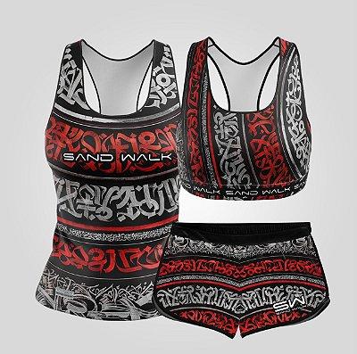 Kit de Aniversário Sand Walk | Feminino | Regata, shorts e top | Graffiti Vermelho
