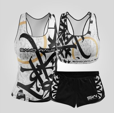 Kit de Aniversário Sand Walk | Feminino | Regata, shorts e top | Graffiti Branco