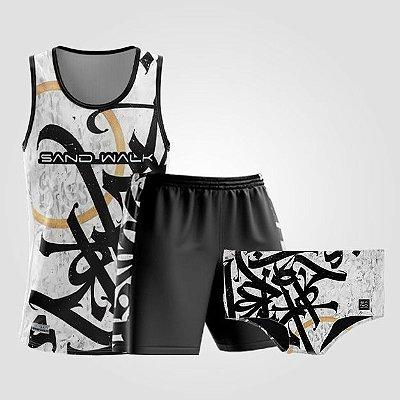 Kit de Aniversário Sand Walk | Masculino | Regata, shorts e sunga | Graffiti Branco