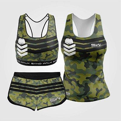 Kit de Aniversário Sand Walk | Feminino | Regata, shorts e top | Militar 2.0