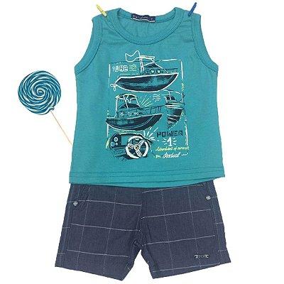 Conjunto Regata Barco e Bermuda Jeans Dila