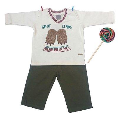 Conjunto Moletom Pata Urso Bege com Calça Jeans Carinhoso