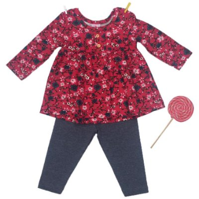 Conjunto Bata e Legging Florido Pink Brandili