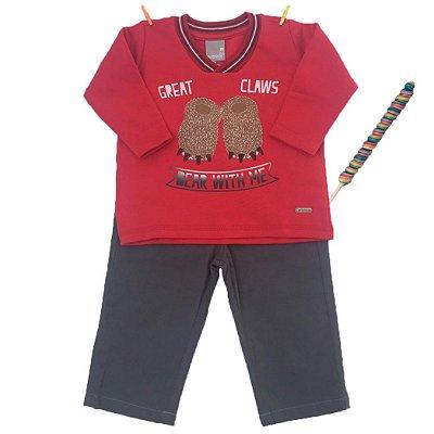 Conjunto Moletom Pata Urso Vermelho com Calça Jeans Carinhoso