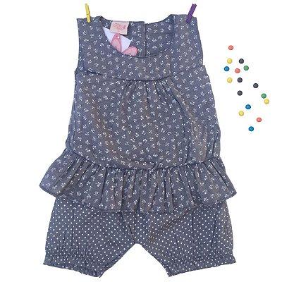 Conjunto Bata e Shorts em Tecido Azul Kiko & Kika