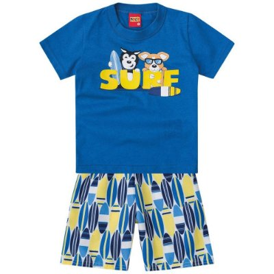 Conjunto Camiseta e Bermuda Surf Azul Kyly