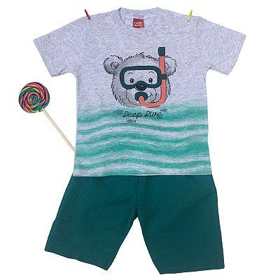 Conjunto Camiseta e Bermuda Urso Mergulhador Verde Kyly