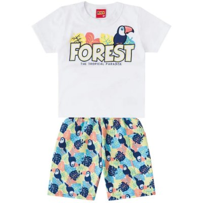Conjunto Camiseta e Bermuda Forest Branco Kyly