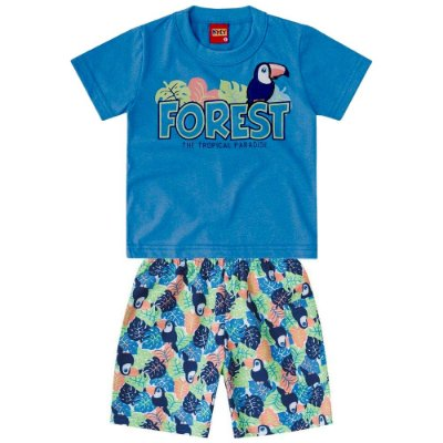 Conjunto Camiseta e Bermuda Forest Azul Kyly