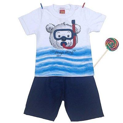 Camiseta e Bermuda Urso Mergulhador Azul Kyly