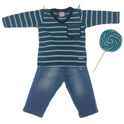 Conjunto Camiseta e Calça Jeans Verde e Azul Carinhoso