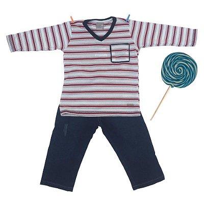 Conjunto Camiseta e Calça Jeans Branco e Vermelho Carinhoso