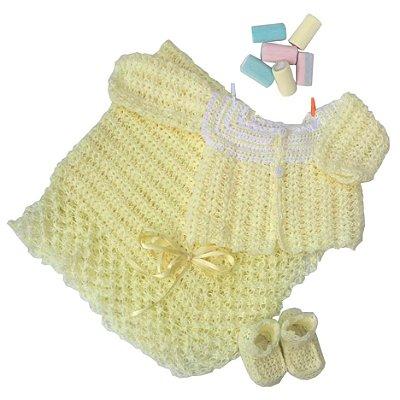 Conjunto Casaquinho, Sapatinhos e Manta em Crochê Amarelo c/detalhes Brancos