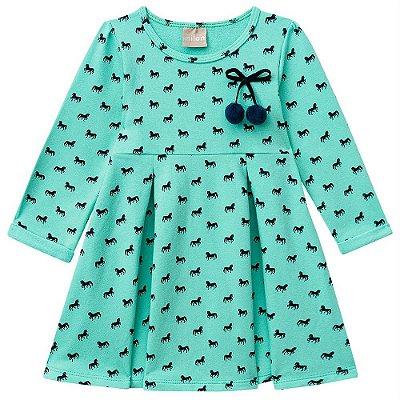 Vestido Moleton Cavalinhos Verde Milon