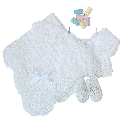Conjunto Casaquinho, Sapatinhos e Manta em Crochê Branco