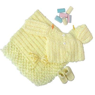 Conjunto Casaquinho, Sapatinhos e Manta em Crochê Amarelo