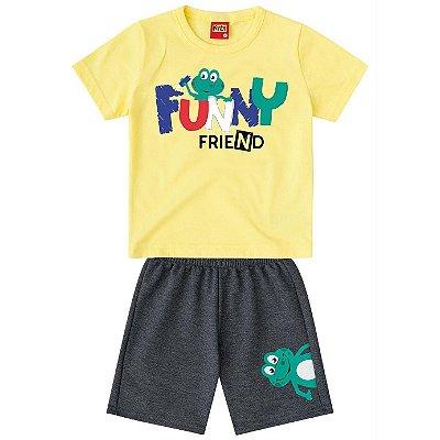 Conjunto Camiseta Sapo e Bermuda Moletom Amarelo Kyly