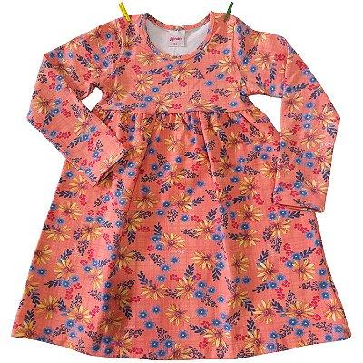 Vestido Cotton Florido Salmão Alenice