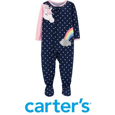 Pijama com Pé Antiderrapante Unicórnio Azul Marinho Carter´s