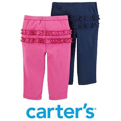 Conjunto 2 Leggings com Babados Pink e Azul Marinho Carter´s