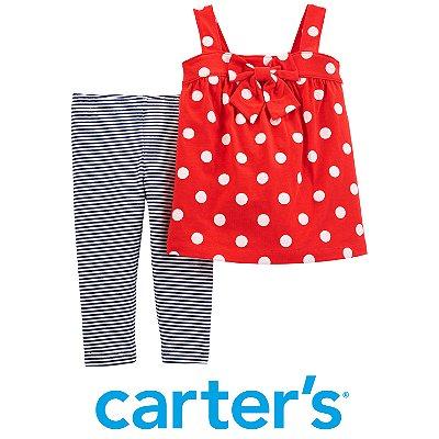 Conjunto Blusa Vermelha Poás e Legging Carter´s
