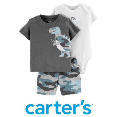 Conjunto Camiseta, Body e Shorts Dino Carter´s