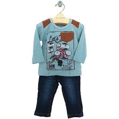 Conjunto Camiseta Manga Longa Lets Rock e Calça Jeans Carinhoso