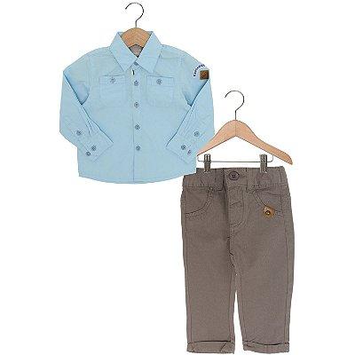 Conjunto Camisa Azul com Calça Jeans Marrom Carinhoso
