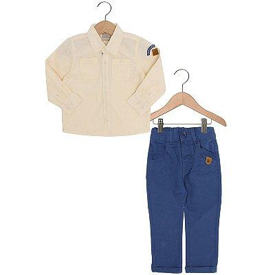 Conjunto Camisa Amarela com Calça Jeans Azul Carinhoso