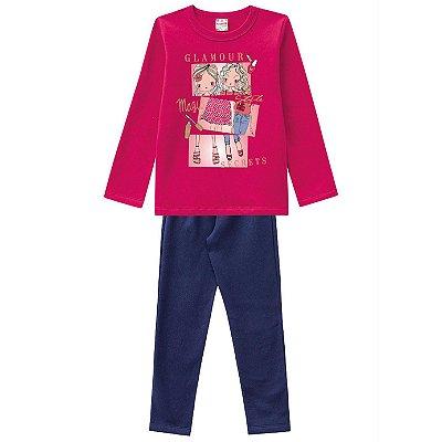 Conjunto Moletom Pink Glamour com Legging Brandili