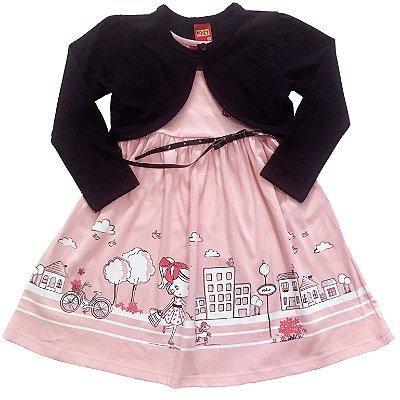 Vestido Rosa com Bolero e Cinto Kyly