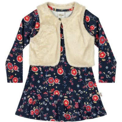 Vestido Florido Marinho com Colete de Pêlo Elian