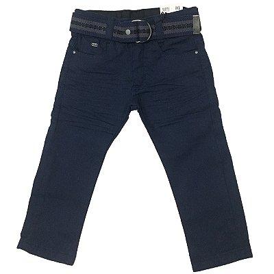 Calça de Sarja Azul Marinho Skinny com Cinto Crawling