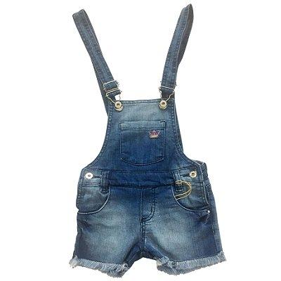 Jardineira Jeans com Bordado Crawling