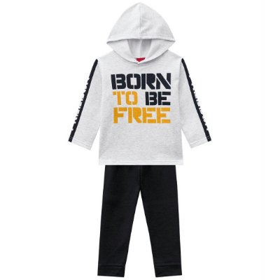Conjunto Infantil Born To Be Free Cinza Kyly