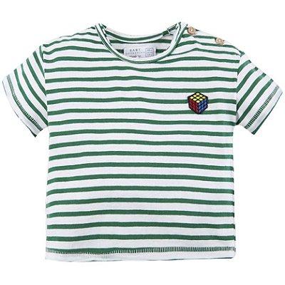 Camiseta Listrada Verde e Branco Brotes