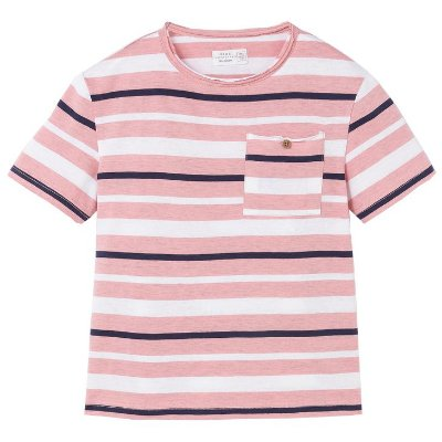 Camiseta Listrada Rosa, Azul e Branca Brotes