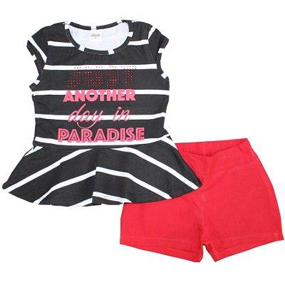 Conjunto Blusa Cotton Paradise Listrada Preta e Shorts Tecido Vermelho Elian