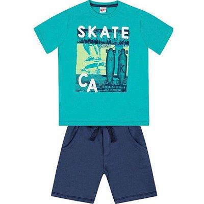Conjunto Camiseta Skate e Bermuda Moletinho Turquesa Kiko & Kika