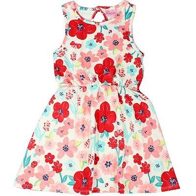 Vestido Cotton Floral Creme Duduka DDK