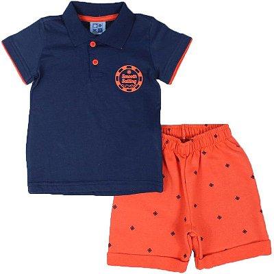 Conjunto Camiseta Polo e Bermuda Moletinho Estampada Duduka DDK