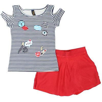 Conjunto Blusa Cotton Listrada Azul e Shorts Saia em tecido Vermelho Duduka Premium