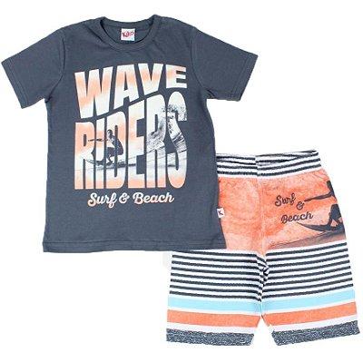 Conjunto Camiseta Estampada Wave Riders Chumbo e Bermuda Tactel Kiko & Kika