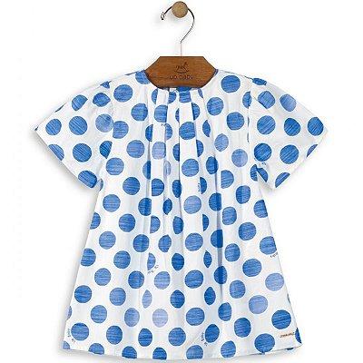 Vestido manga curta bolas azul Up Baby