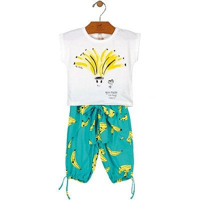 Conjunto Blusa Cotton e Bermuda Meia Malha estampa Bananas Up Baby
