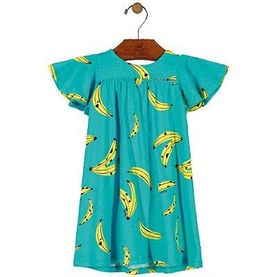 Vestido em Meia Malha Bebê Estampa Bananas Turquesa Up Baby