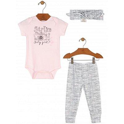 Kit Body Manga Curta, Calça e Faixa Rosa e Branco Up Baby