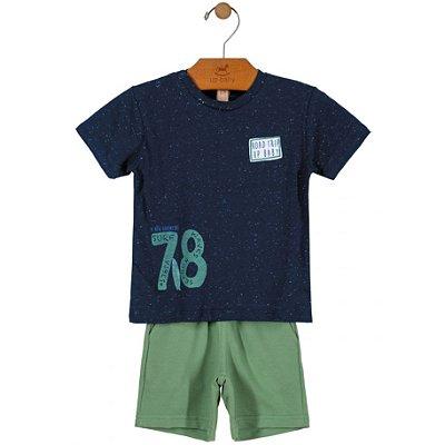 Conjunto Camiseta Malha e Bermuda em Moletom Marinho Up Baby